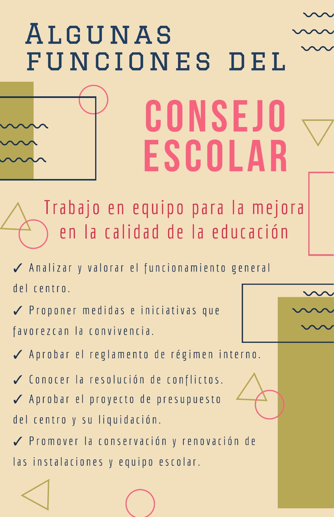 Infografía con información sobre algunas de las funciones del Consejo Escolar.