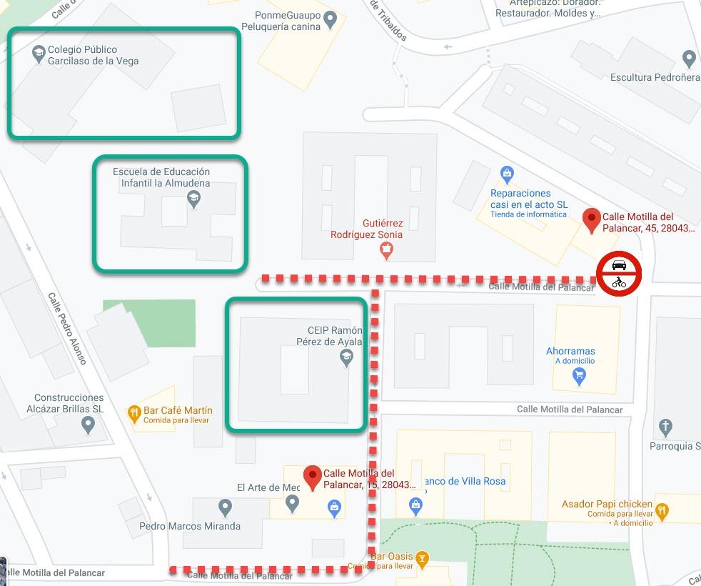Mapa de la calle Motilla del Palancar entre los números 15 y 45 que serán la zona donde se dará lugar la concentración.