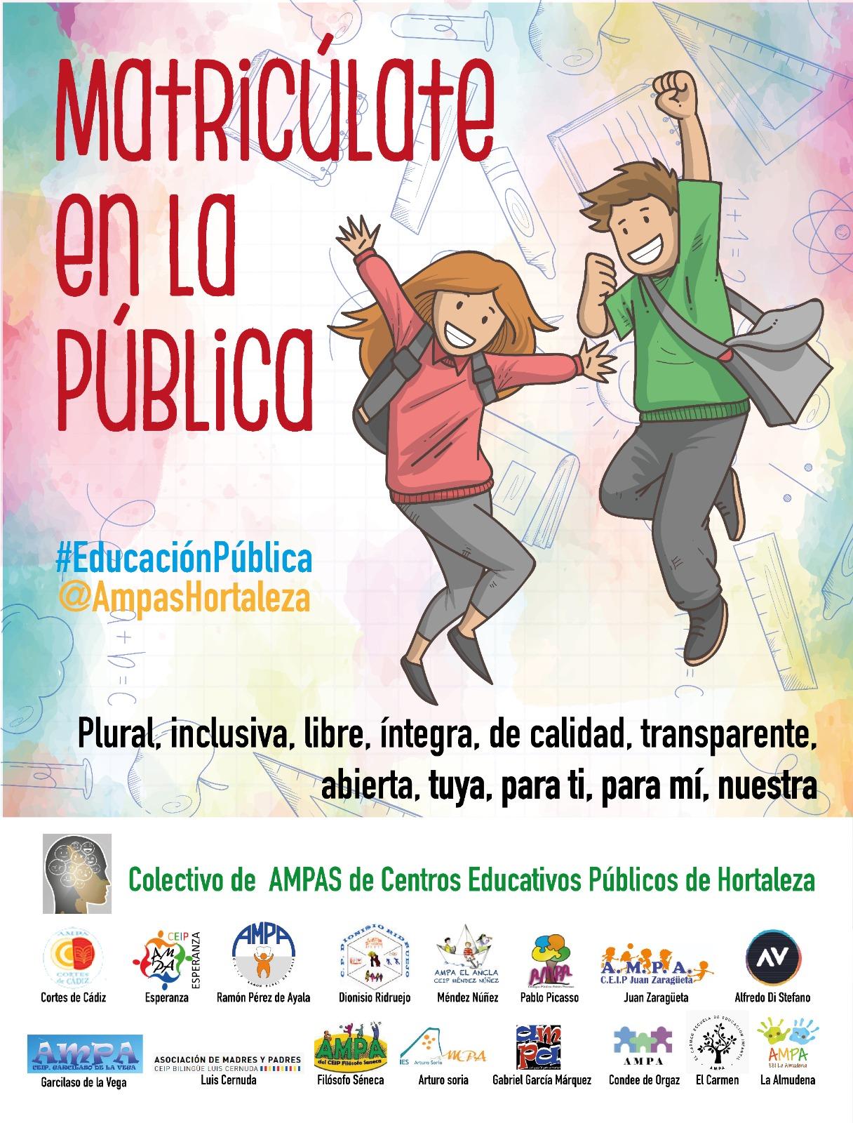 Cartel a favor de la educación pública de calidad.